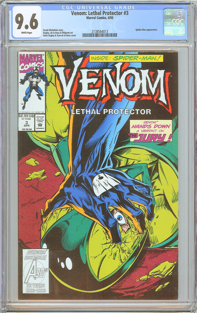 Venom Lethal Protector #3 CGC 9.6 White Pages 2138564013 Marvel Movie