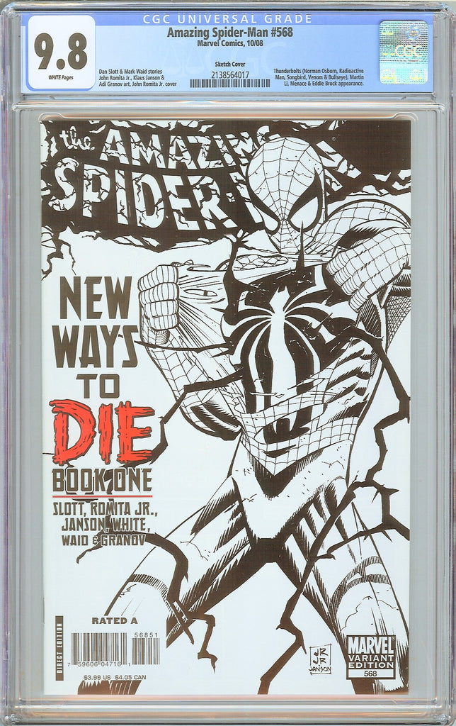 Amazing Spider-Man #568 CGC 9.8 White Pages 2138564017 Sketch Cover