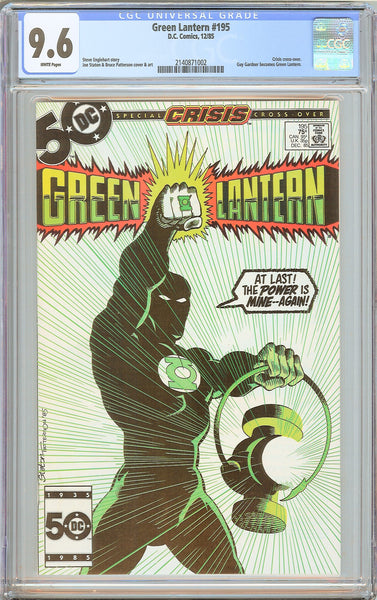 Green Lantern #195 CGC 9.6 White Pages 1985 2140871002 Crisis Cross-over