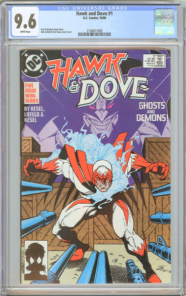 Hawk and Dove #1 CGC 9.6 White Pages (1988) 2140871009