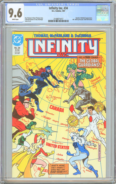 Infinity Inc. #34 CGC 9.6 White Pages 1987 2140871017 Todd McFarlane
