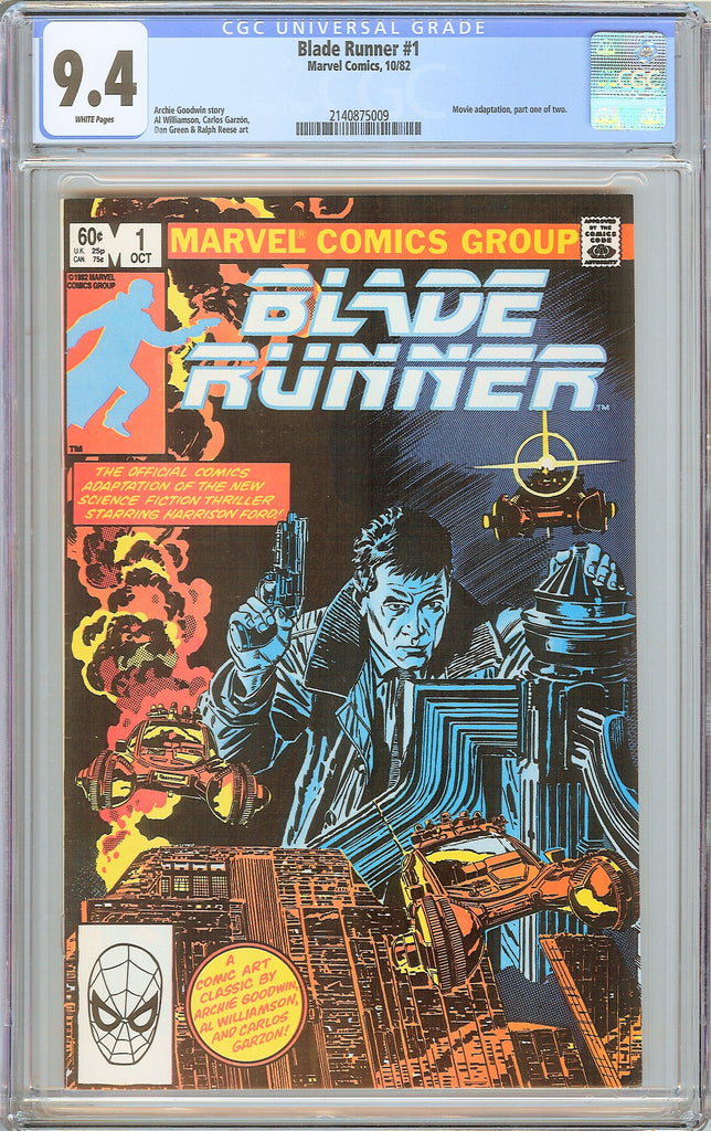 Blade Runner #1 CGC 9.4 White Pages 1982 2140875009 Movie adaptation