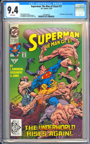 Superman The Man of Steel #17 CGC 9.4 White Pages 3721897021 Doomsday Cameo