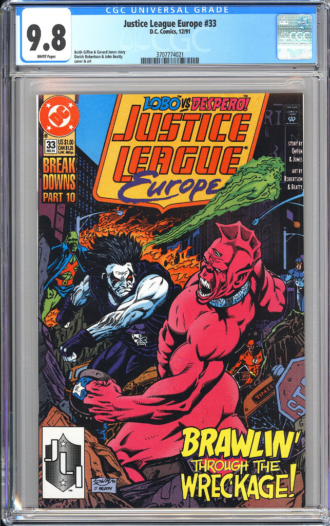 Justice League Europe #33 CGC 9.8 White Pages 3707774021