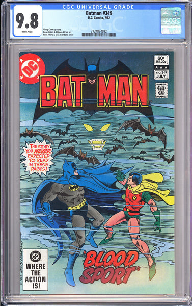 Batman #349 CGC 9.8 White Pages 1982 3724874022 Bronze Age