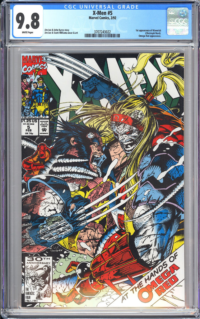 X-Men #5 CGC 9.8 White Pages 1992 3707243022 1st Maverick