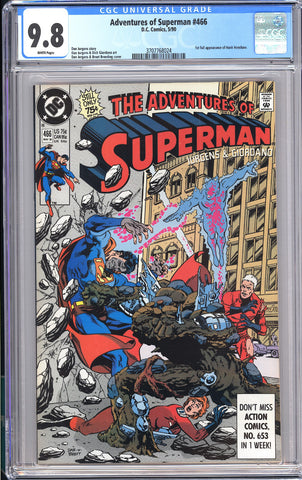 Adventures of Superman #466 CGC 9.8 WP 1990 3707768024 1st Full Hank Henshaw