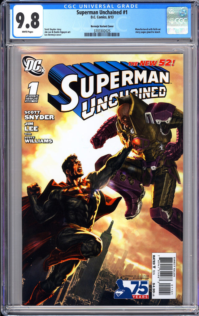 Superman Unchained #1 CGC 9.8 White Pages 3703302025 Bermejo Variant