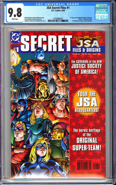 JSA Secret Files #1 CGC 9.8 White Pages 1999 3705489025 Hawkgirl