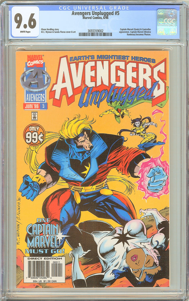 Avengers Unplugged #5 CGC 9.6 White Pages (1996) 3693359002