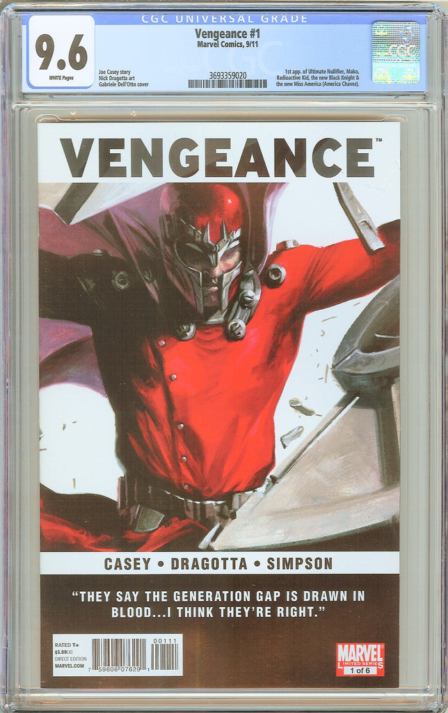 Vengeance #1 CGC 9.6 White Pages (2011) 3693359020 Hot Key
