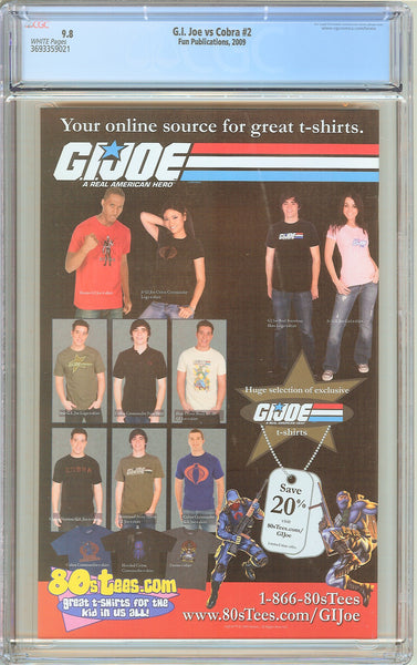 G.I. Joe vs Cobra #2 CGC 9.8 White Pages 3693359021 Greg Horn Cover