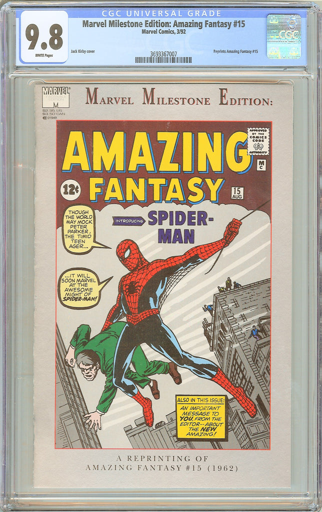 Marvel Milestone Edition Amazing Fantasy #15 CGC 9.8 WP 3693367007