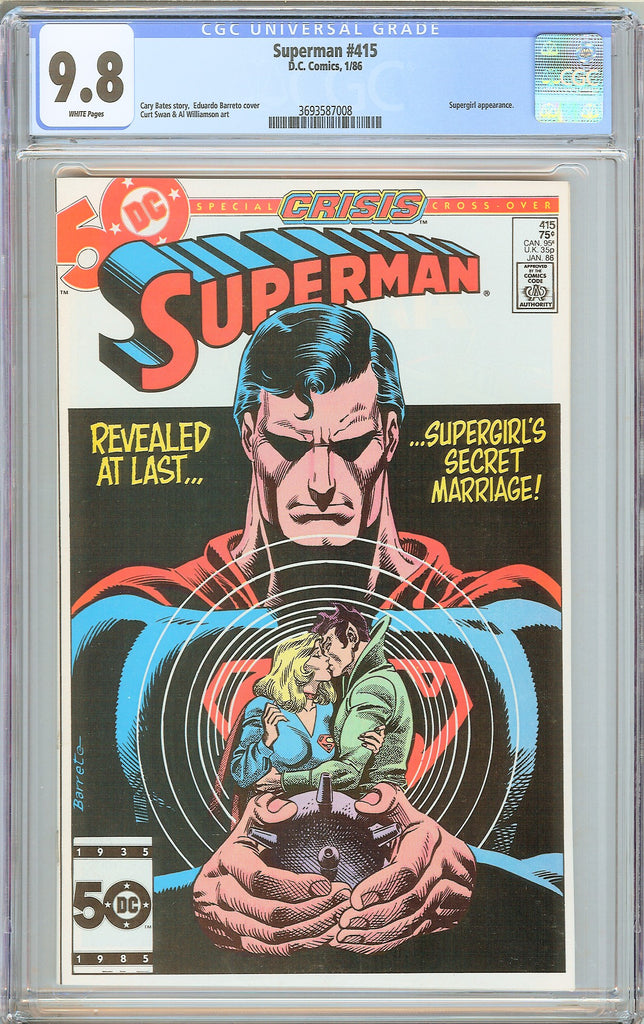 Superman #415 CGC 9.8 White Pages 3693587008 Supergirl appearance
