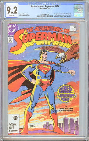 Adventures of Superman #424 CGC 9.2 White Pages 3693587023 1st Cat