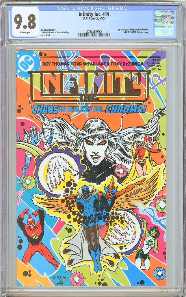 Infinity Inc #14 CGC 9.8 White Pages 1985 3693587025 1st Todd McFarlane Cover