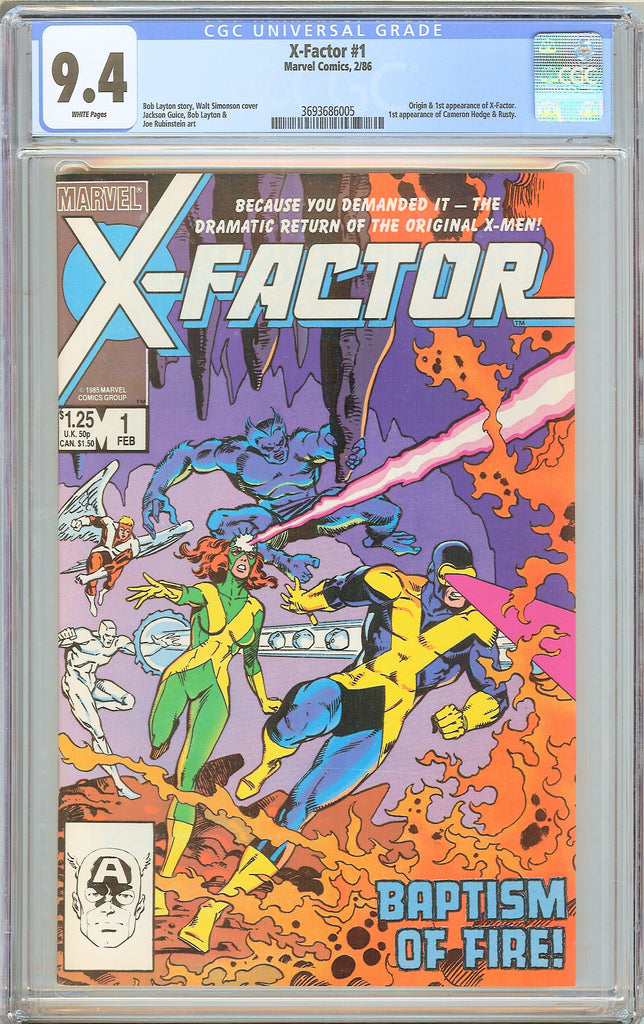 X-Factor #1 CGC 9.4 White Pages 1986 3693686005