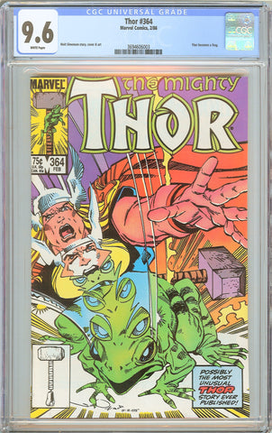 Thor #364 CGC 9.6 White Pages 1986 3694606003 Thor becomes a Frog