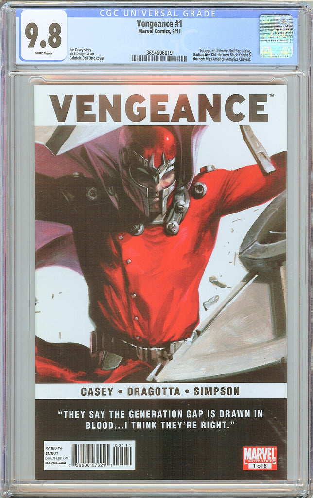 Vengeance #1 CGC 9.8 White Pages (2011) 3694606019 Hot Key
