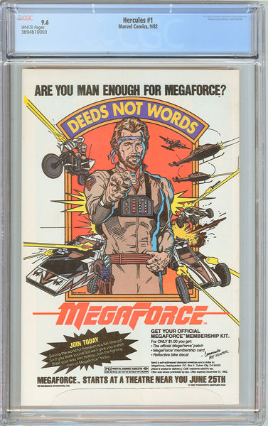 Hercules #1 CGC 9.6 WHITE PAGES 1982 3694610003