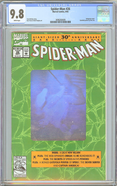 Spider-Man #26 CGC 9.8 WP 1992 3696260009 Hologram Cover