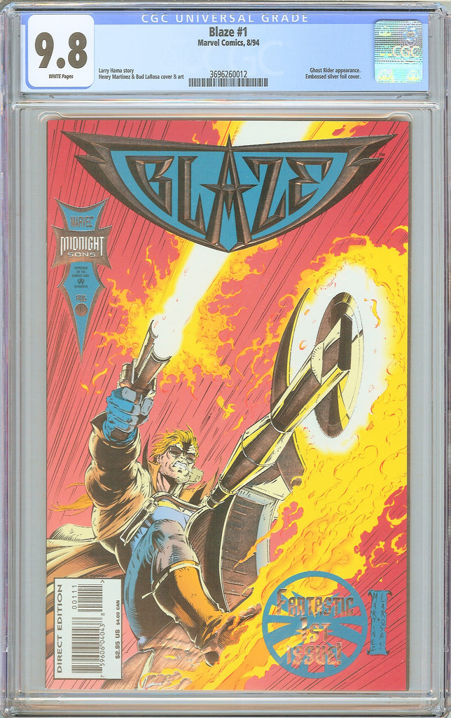 Blaze #1 CGC 9.8 White Pages 3696260012 Embossed Silver Foil Cover