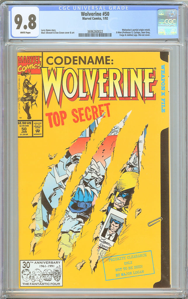 Wolverine #50 CGC 9.8 White Pages 1992 3696260022 Die-cut Cover