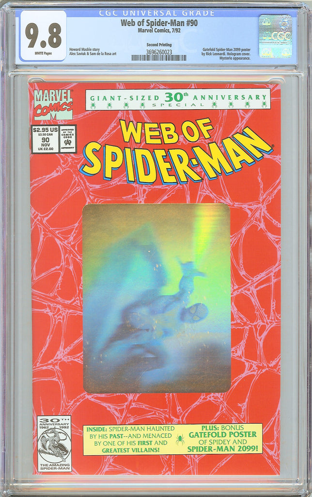 Web of Spider-Man #90 CGC 9.8 White Pages (1992) 3696260023 Gold Foil