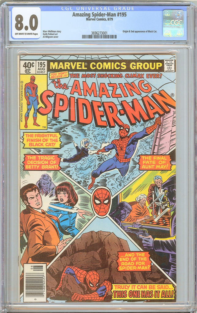 Amazing Spider-Man #195 CGC 8.0 OWT White Pages 3696273001