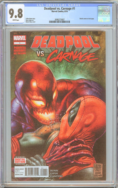 Deadpool vs. Carnage #1 CGC 9.8 White Pages 2014 3696273007 Shriek cameo