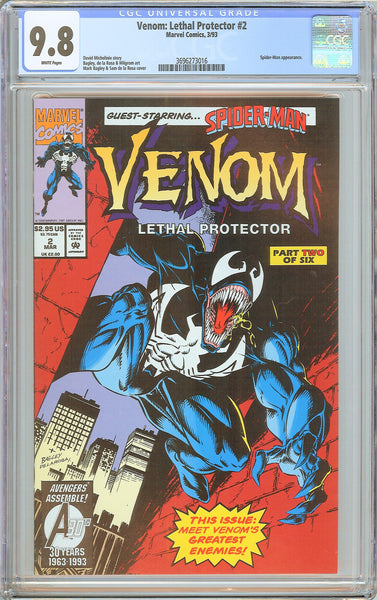 Venom Lethal Protector #2 CGC 9.8 White Pages 3696273016 Marvel Movie