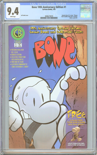 Bone 10th Anniversary Edition #1 CGC 9.4 White Pages (2001) 3696273019