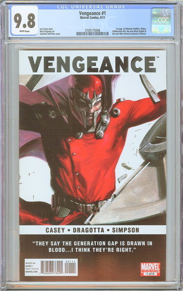 Vengeance #1 CGC 9.8 White Pages (2011) 3700175006 Hot Key