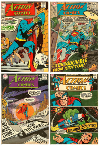 Action Comics ( Lot of 4 ) Vintage 1968 VG to FN