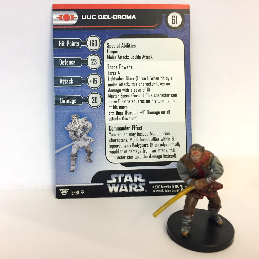 Star Wars Champions of the Force #19 Ulic Qel-Droma (VR) Miniature