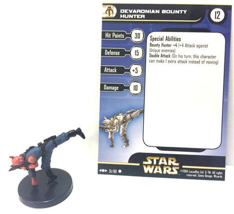 12X Star Wars Clone Strike 51/60 Devaronian Bounty Hunter (C) Miniatures
