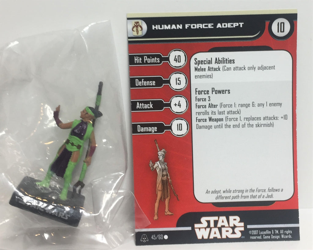 Star Wars Alliance & Empire 45/60 Human Force Adept (C) Miniature