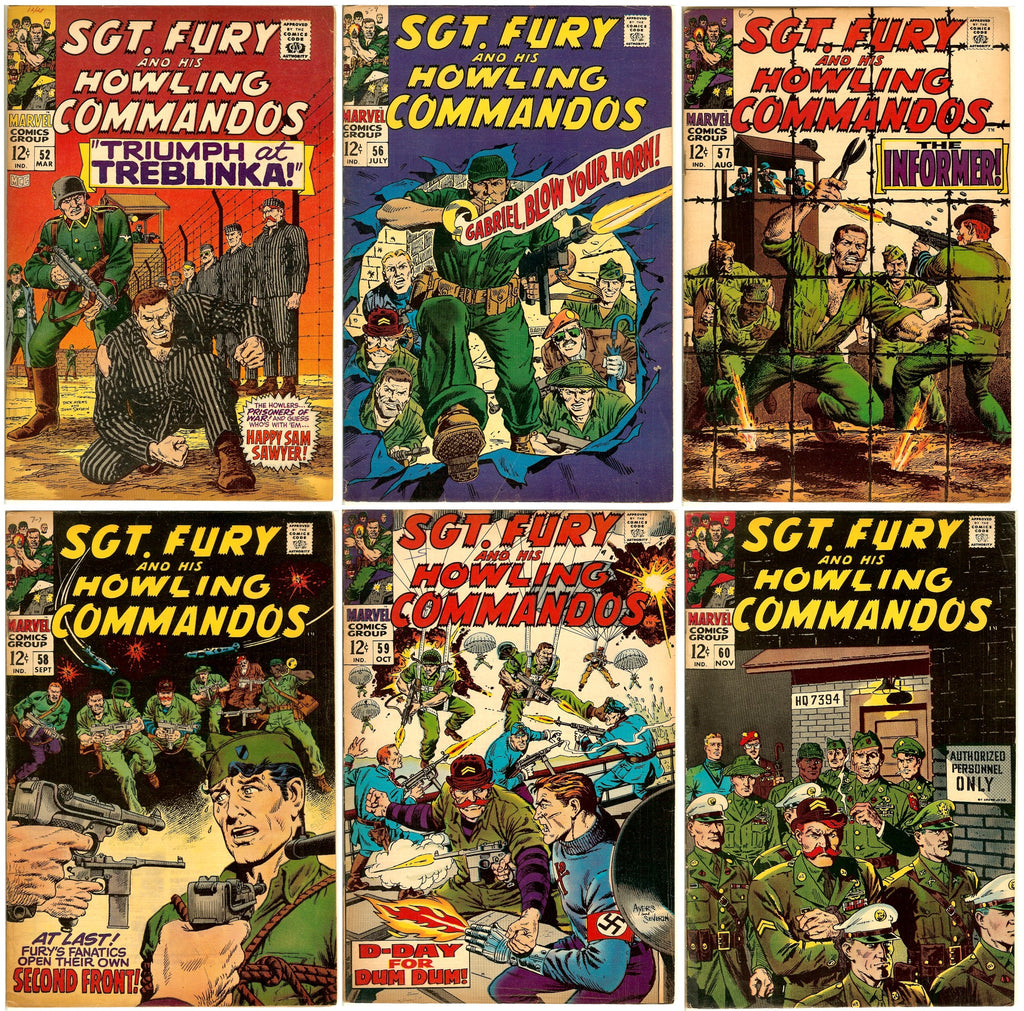 Sgt. Fury and his Howling Commandos ( Lot of 6 ) Vintage 1968 (6.0 to 7.0)