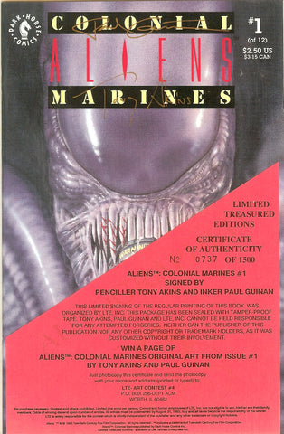 Aliens Colonial Marines #1 Signed Tony Akins & Paul Guinan COA 0737/1500
