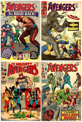 Avengers Comics ( Lot of 4 ) Vintage 1965-70 FN 6.0