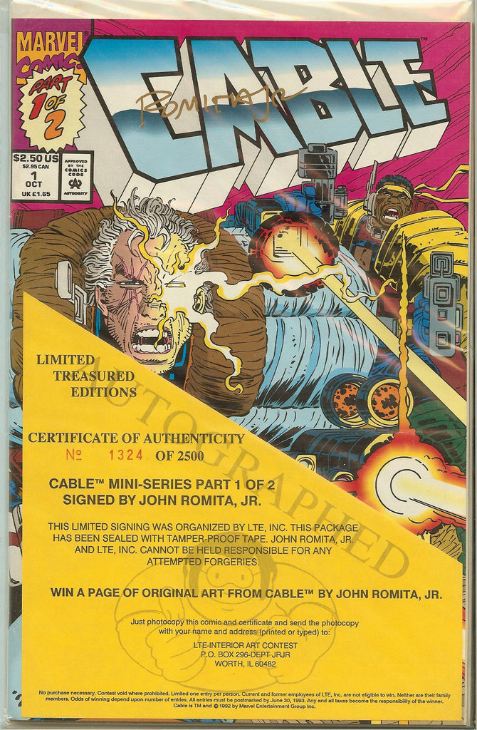 Cable Mini Series Part 1 & 2 Signed by John Romita Jr. COA 1324/2500