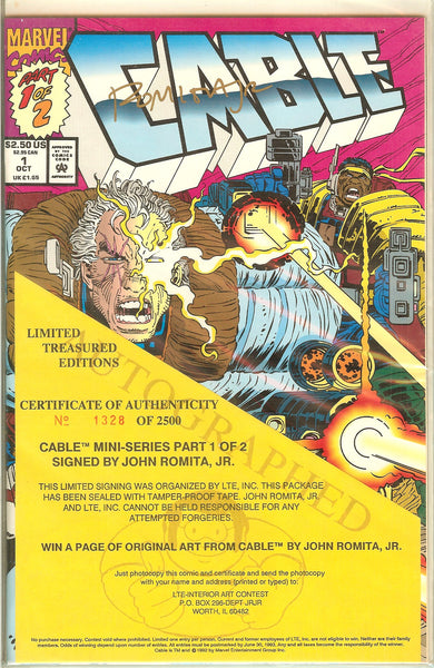 Cable Mini Series Part 1 & 2 Signed by John Romita Jr. COA 1328/2500