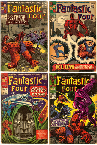 Fantastic Four Comics ( Lot of 4 ) Vintage 1965-68 Grades 3.0-6.0