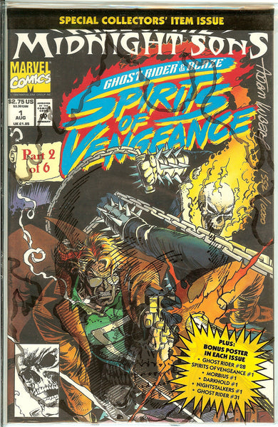 Ghost Rider & Blaze Spirits of Vengeance #1 Signed by Adam Kubert 1552/10000