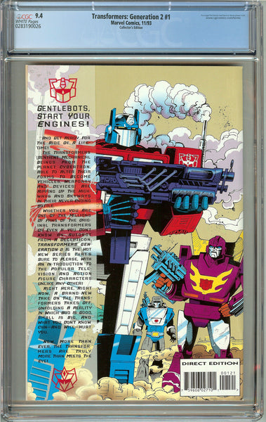 Transformers Generation 2 #1 (1993) CGC 9.4 White Pages 0283190026