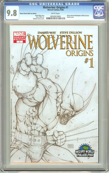 Wolverine Origins #1 (2006) CGC 9.8 White Pages 0934923005 Wizard World Sketch C