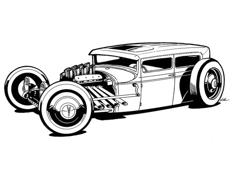 rat rod Ink outline