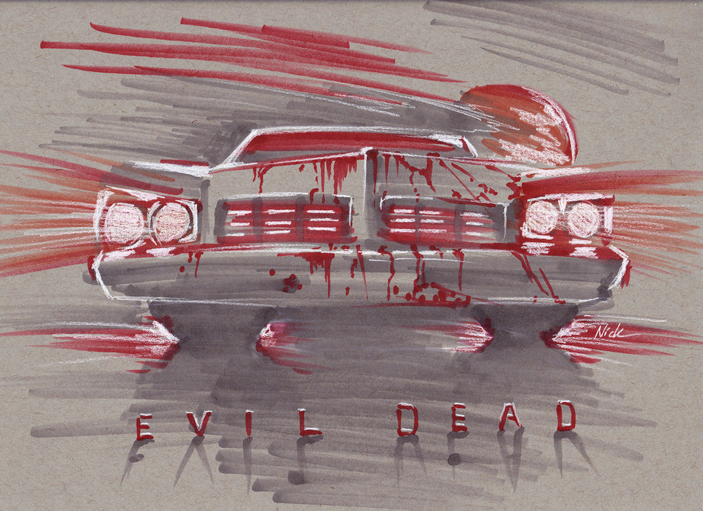 surface dvd, rendering, nick crouch, nickcrouch, surface, car, automotive, truck, print, painting, minitruckin, minitruck, mini, lowered, bagged, evil, evildead, ash, ashvsevildead