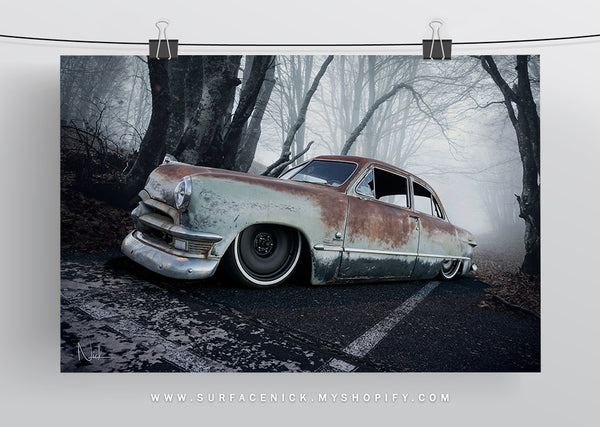 vintage, hotrod, ratrod, surfacedvd, surfacenick, hotrodart, carart, vintageart, fordcustom, ford, custom, forest, haunted, rusty, rust, bagged, slammed, minitruckin,