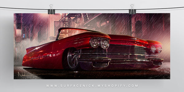 surfacedvd, rendering, nickcrouch, surface, car, automotive, truck, print, minitruckin, minitruck, mini, lowered, canvas, bagged, caddy, caddilac, eldorado, custom, sincity, adametokillfor, red, rain, city, night, sincitycar, carart,